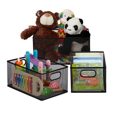 Panier de rangement jeu de 3, effet optique grillage,poignées, pour accessoires, jeux, étagère Métallique,noir