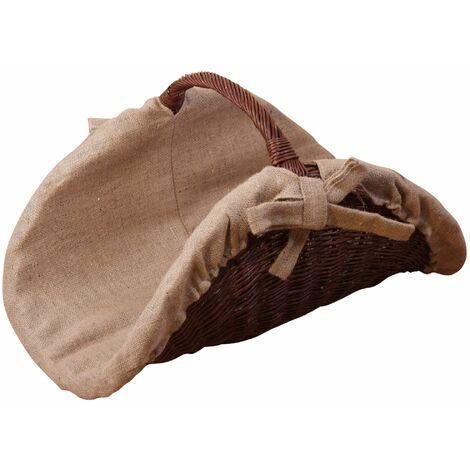 Panier de rangement / range bûches en osier tressé avec poignée - noir