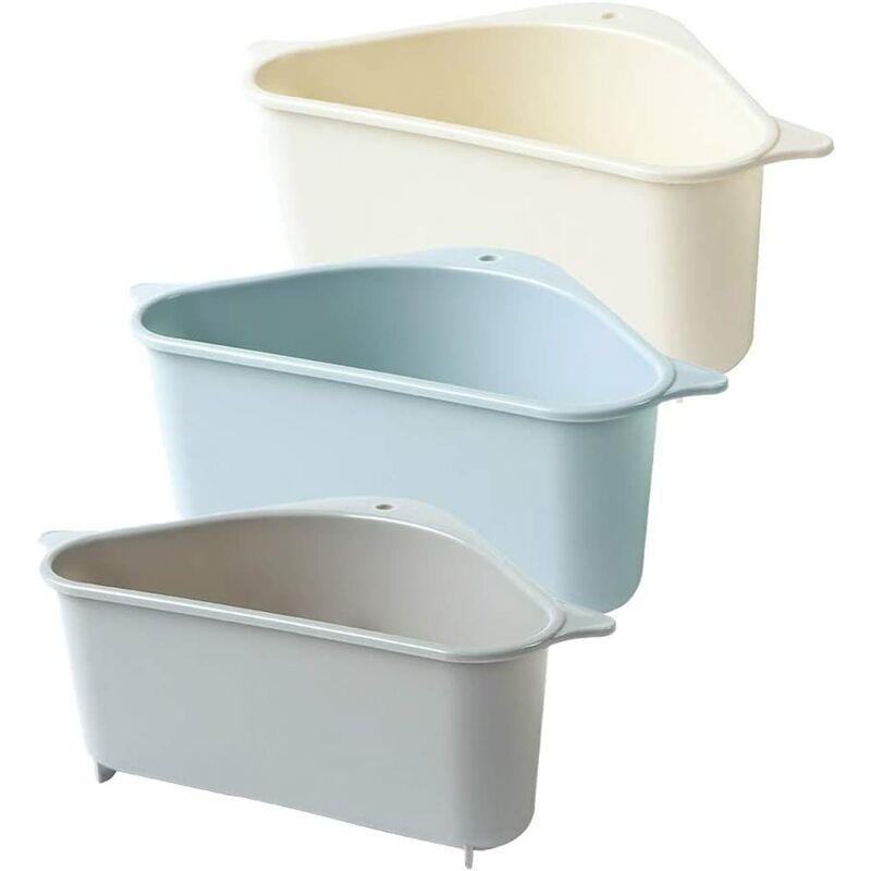 Bares - Panier d'évier, Lot de 3 étagère de drainage multifonctionnelle triangulaire étagère de rangement pour évier support de rangement pour