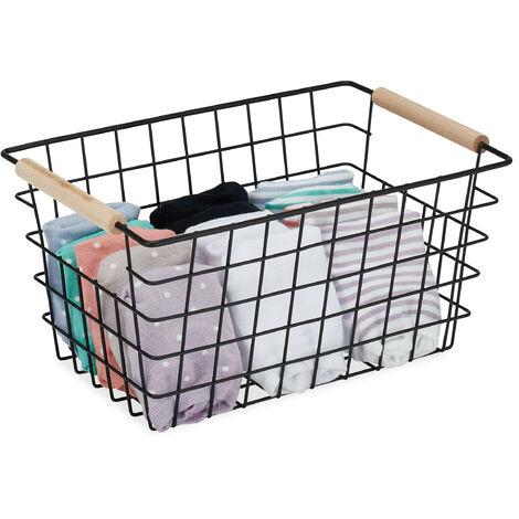 Panier fil métallique, poignée en bois, carrée, design bois, vêtements, accessoires, HlP 16x31x21 cm,noir