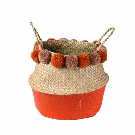 Panier Jonc avec Pompom Orange – NATURAL
