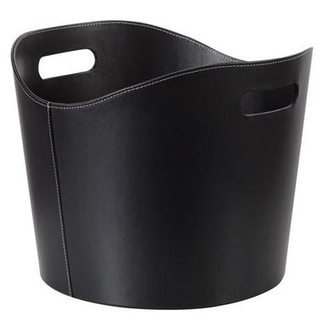 ebcfafa9c6b Panier porte-buches - aspect cuir noir - 31 x ø 39 cm