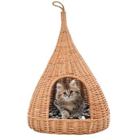 Panier pour chats avec coussin 40x60 cm Saule naturel