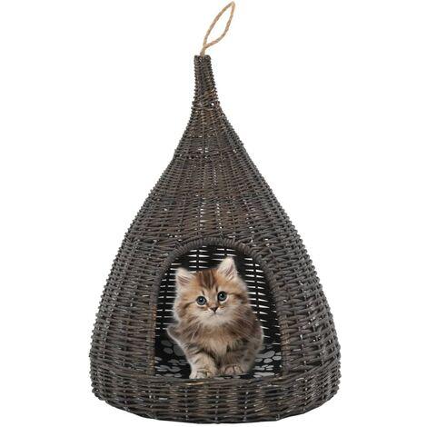 Panier pour chats avec coussin Gris 40x60 cm Saule naturel
