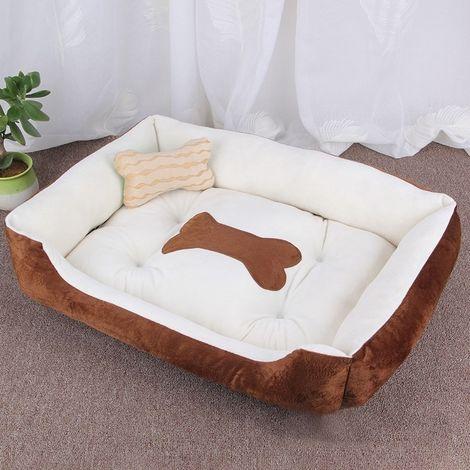 Panier pour chien Coussin tapis de chat pour chien, modèle Big Bean Warm Warm, pour taille: L, 80 × 60 × 15 cm (brun blanc)