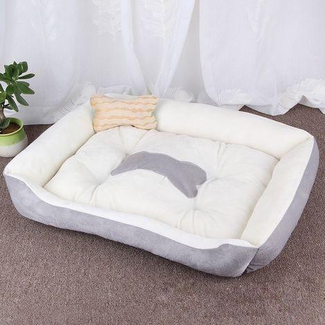 Panier pour chien Coussin tapis de chat pour chien, modèle Big Bean Warm Warm, pour taille: L, 80 × 60 × 15 cm (gris blanc)