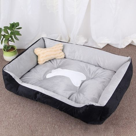 Panier pour chien Coussin tapis de chat pour chien, motif chenil doux et doux, taille pour taille: L, 80 × 60 × 15 cm (Gris noir