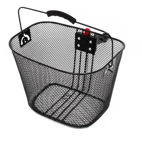 Panier pour vélo 32,5x24x25,5cm Porte-bagage Avant Détachable Acier Noir Transport Sac Emplettes