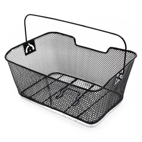 Panier pour vélo 38,5 x 27 x 16,5 cm Porte-bagage Détachable Acier Noir Transport Sac Emplettes