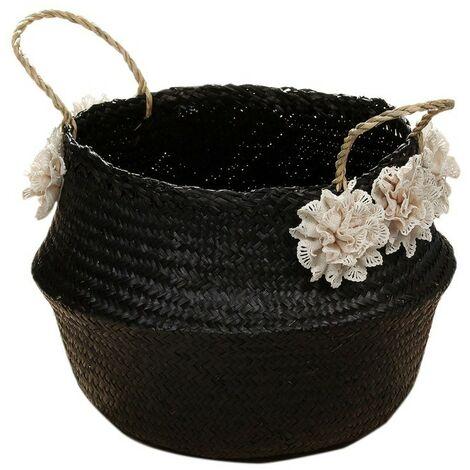 Panier rond en jonc de mer tressé naturel coloris noir - Casâme