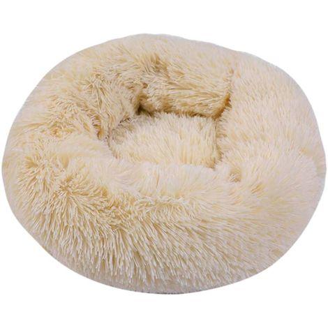 Panier Rond pour Chien et Chat en Peluche Douce et Confortable Donut Chat lit Chaud de Moelleux pour Chiot pour Dormir