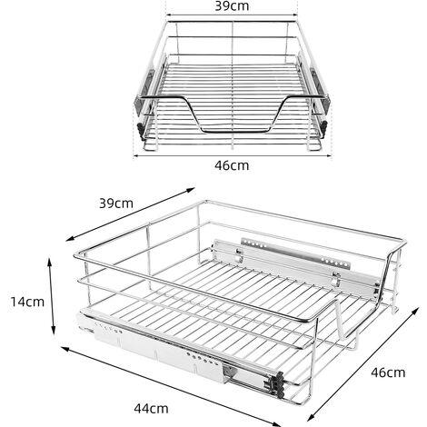 Paniers Coulissants pour Placard ou Cabinet de Cuisine de 50cm. Tiroirs coulissants a systeme de fermeture amortie