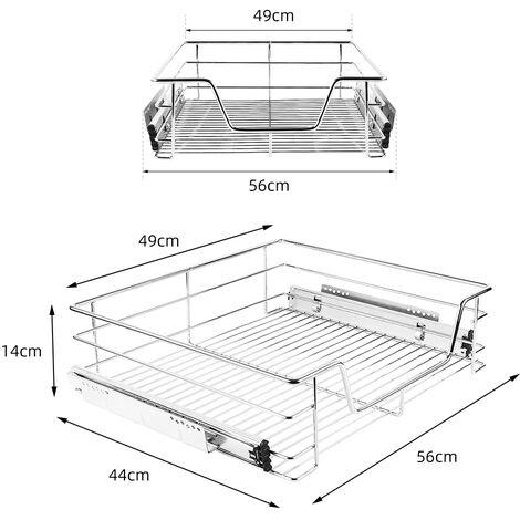 Paniers Coulissants pour Placard ou Cabinet de Cuisine de 60cm. Tiroirs coulissants a systeme de fermeture amortie