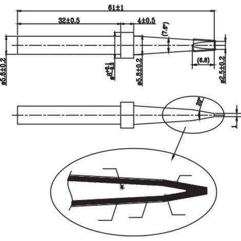 /XT F/ /Weller 1,2/mm 30//° droite conique pour sabot Pointe de fer /à souder pour Wp120//à souder crayon/