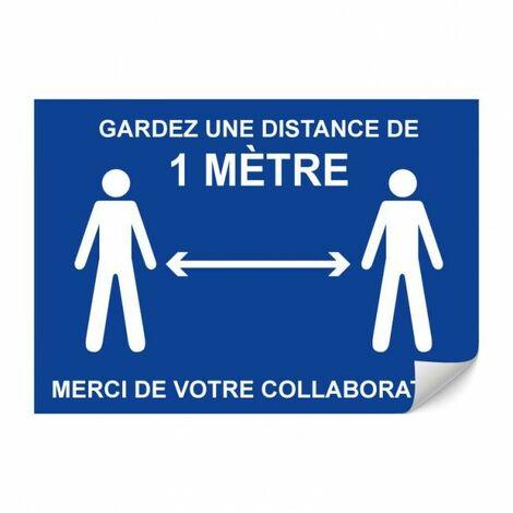 Panneau Adhésif Garder une distance de 1 mètre - A4 -TOPCAR 4610061