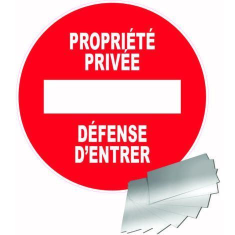 Panneau Aluminium Sens interdit - Propriété privée - Défense d\'entrer - Novap