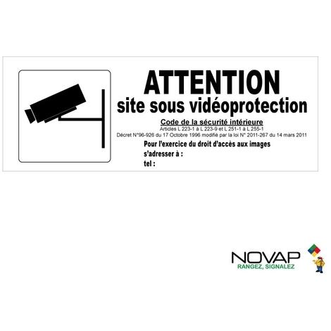 Panneau Attention site sous vidéoprotection avec pictogramme - Rigide 330x120mm - 4140858
