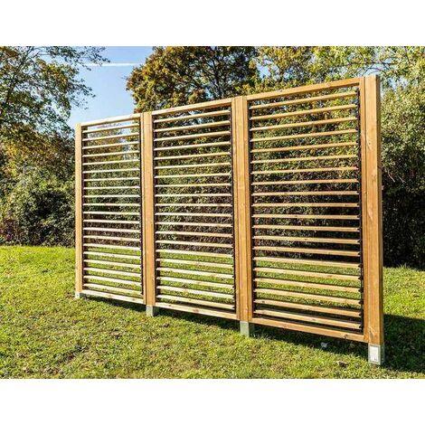 Panneau brise vue en bois traité - ventelles mobiles - dimensions 100 x H 200 cm