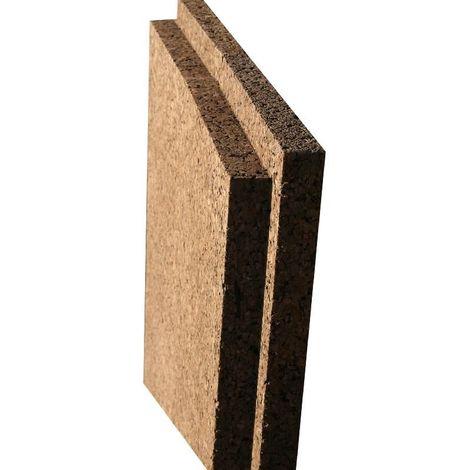 Panneau Corkisol en liège expansé | Acermi | bords mi-bois | Ep. 50mm, 50X100cm R : 1,25 - paquet(s) de 3m²