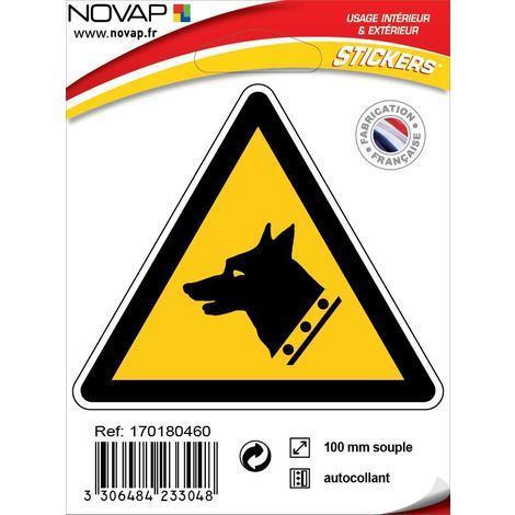 Panneau Danger chien de garde - Adhésif Triangle 100mm - 4233048