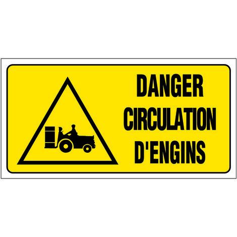 Panneau Danger circulation d'engins - Rigide 960x480mm - 4000466