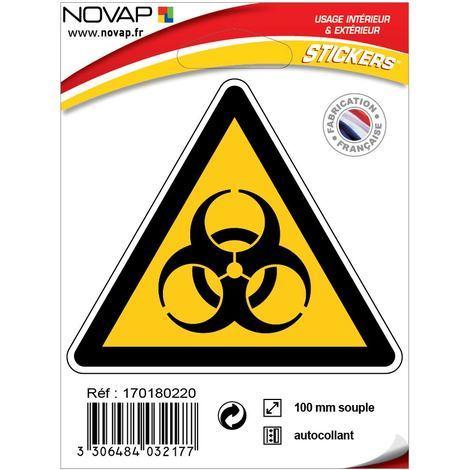 Panneau Danger risque biologique - Adhésif Triangle 100mm - 4032177