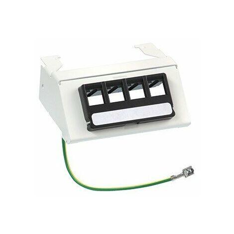 Panneau de brassage pour coffret de communication - Grade 3 à composer - 4 ports RJ45