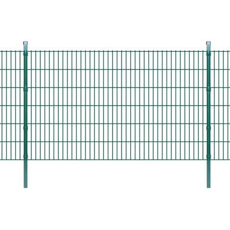 Panneau de clôture 2D jardin avec poteaux 2008x1230mm 2m Vert