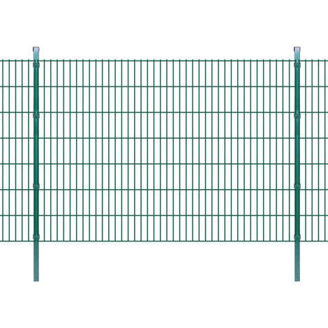 Panneau de clôture 2D jardin avec poteaux 2008x1430mm 2m Vert