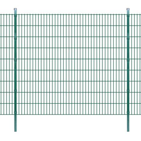 Panneau de clôture 2D jardin avec poteaux 2008x1830mm 2m Vert