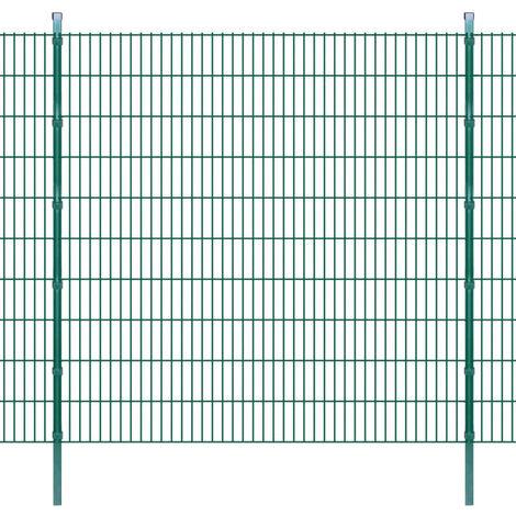 Panneau de clôture 2D jardin avec poteaux 2008x2030mm 2m Vert