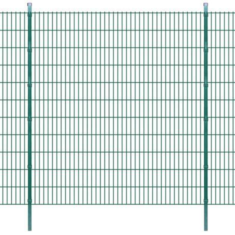 Panneau de clôture 2D jardin avec poteaux 2008x2230mm 2m Vert