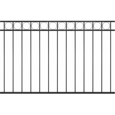Panneau de clôture Acier 1,7x1 m Noir