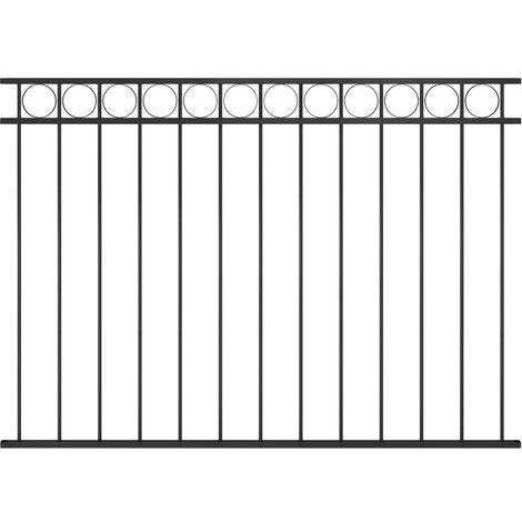 Panneau de clôture Acier 1,7x1,2 m Noir