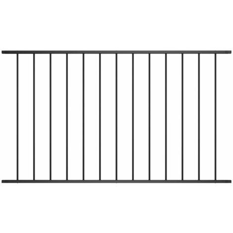 Panneau de clôture Acier enduit de poudre 1,7x1 m Noir