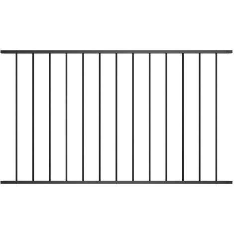Panneau de clôture Acier enduit de poudre 1,7x1,25 m Noir