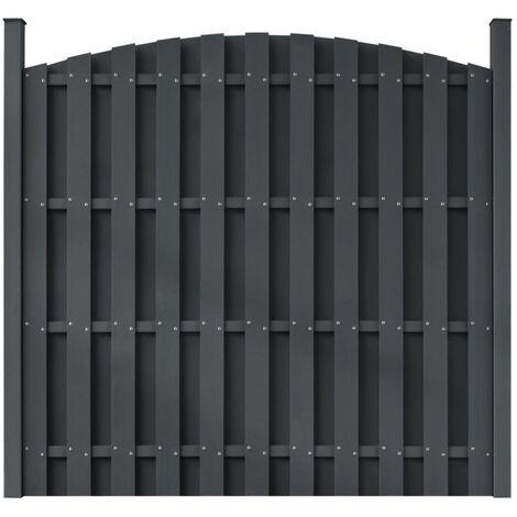 Panneau de clôture avec 2 poteaux WPC 180x(165-180) cm Gris