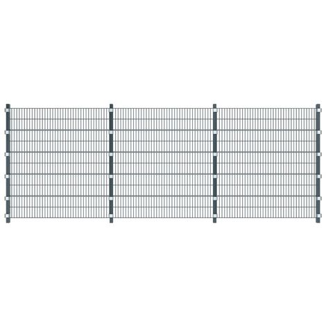 Panneau de clôture avec poteaux 6 x 2 m Gris anthracite