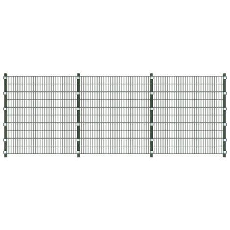 Panneau de clôture avec poteaux 6 x 2 m Vert