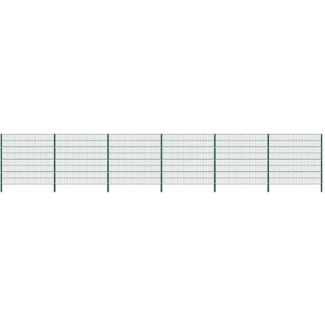 Panneau de clôture avec poteaux Fer 10,2 x 1,6 m Vert