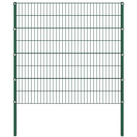 Panneau de cloture avec poteaux Fer 1,7 x 1,6 m Vert