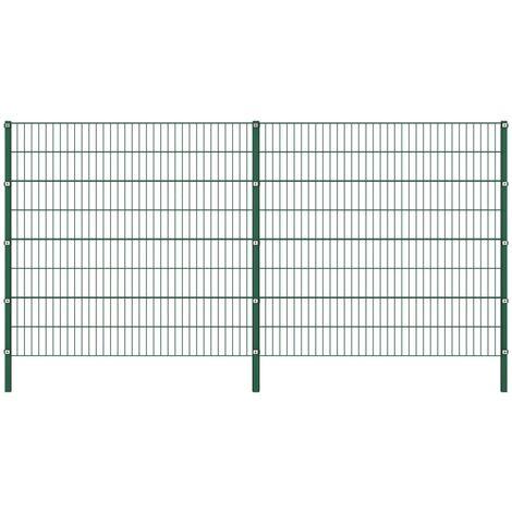 Panneau de clôture avec poteaux Fer 3,4 x 1,6 m Vert