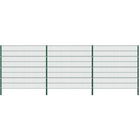 Panneau de clôture avec poteaux Fer 5,1 x 1,6 m Vert