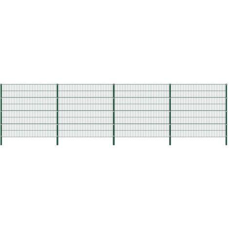 Panneau de clôture avec poteaux Fer 6,8 x 1,6 m Vert