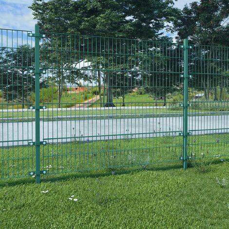 Panneau de clôture et poteaux Fer enduit de poudre 6x1,6 m Vert