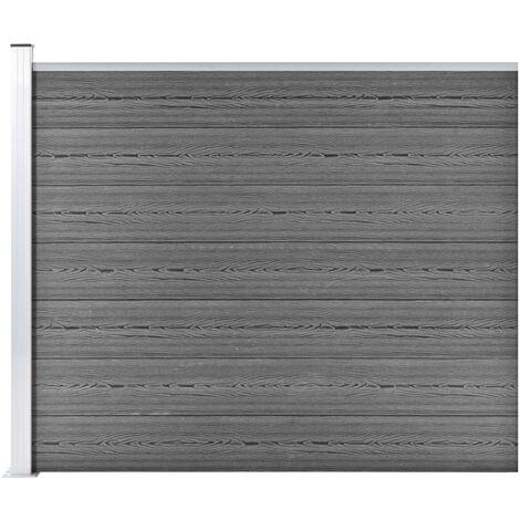 Panneau de clôture WPC 175x146 cm Gris