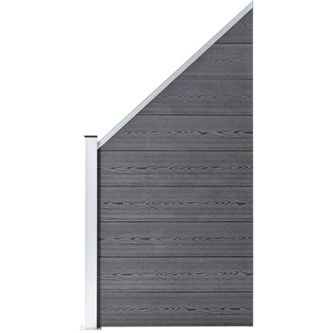 Panneau de clôture WPC 90 x(100-180) cm Gris