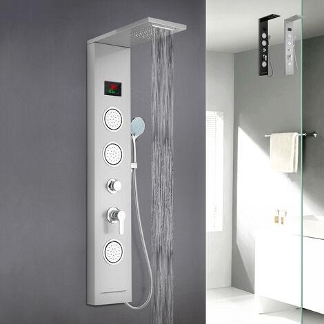 Panneau de colonne de douche en acier avec mélangeur de cascade d'hydromassage d'affichage à LED Abano