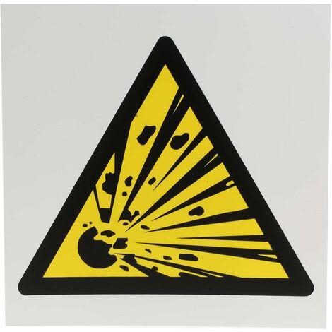 Panneau de danger, avec pictogramme : Danger matières explosives