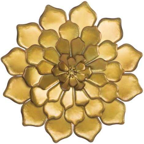 Panneau de décoration murale fleurie en fer 3D glamour GOLDY -B